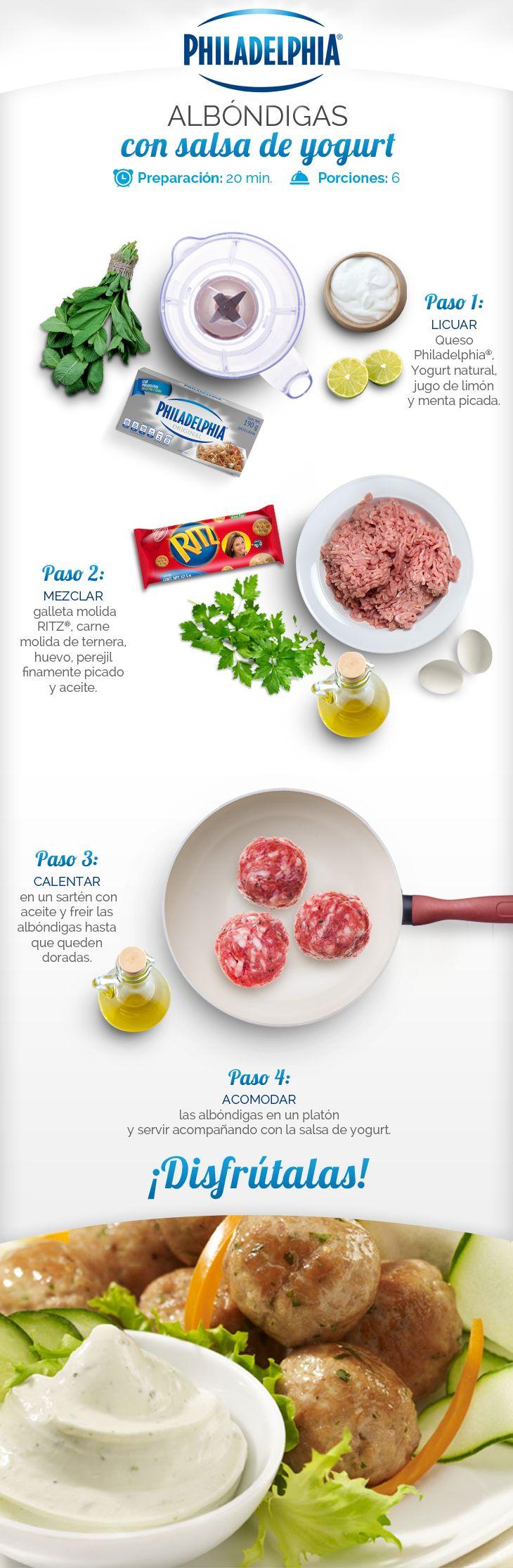 Receta paso a paso de unas deliciosas Albóndigas con salsa de yogurt.