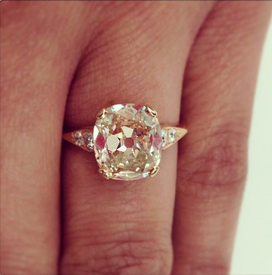 Style: NLR12-2-11 A 2.74ct light brown vintage cushion cut diamond set in rose gold. A Single Stone original.  http://instagram.com/p/Y51M_xCU0S/