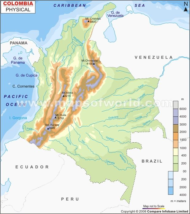 Colombia Physical Map Maps W Thematic Data Pinterest Colombia - Physical map of colombia