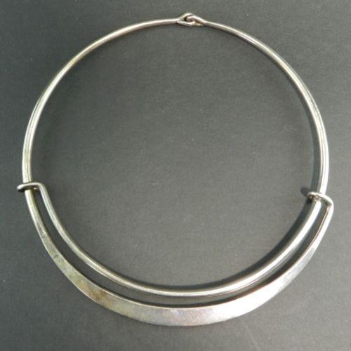 Modernist-Hans-Hansen-Denmark-Sterling-Silver-Cuff-Necklace