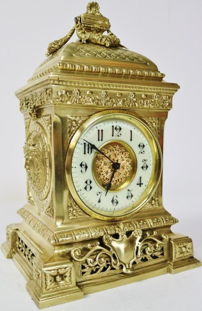 French Antique Bronze Ormolu Mantel Clock 8 Day Platform
