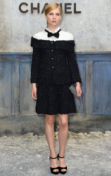 Clemence Poesy at the Front Row of Chanel Couture Show at Paris Fashion Week - Grazia