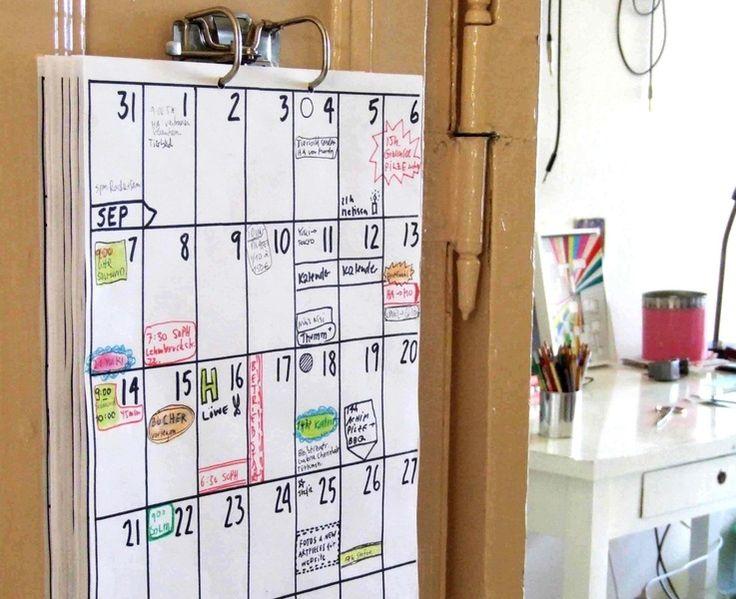 A3 Kalender JUL 2014 - DEZ 2015 von hippie_projects auf DaWanda.com