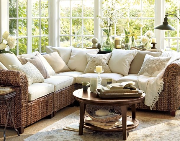 Living room sectionalDecor, Potterybarn, Beach House, Living Rooms, Sunrooms Ideas, Windows, Sitting Room, Sun Rooms, Pottery Barns