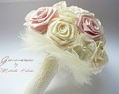 Bridal Fabric Bouquet - Ivory and Pale Pink  Handmade bouquet - bridal bouquet