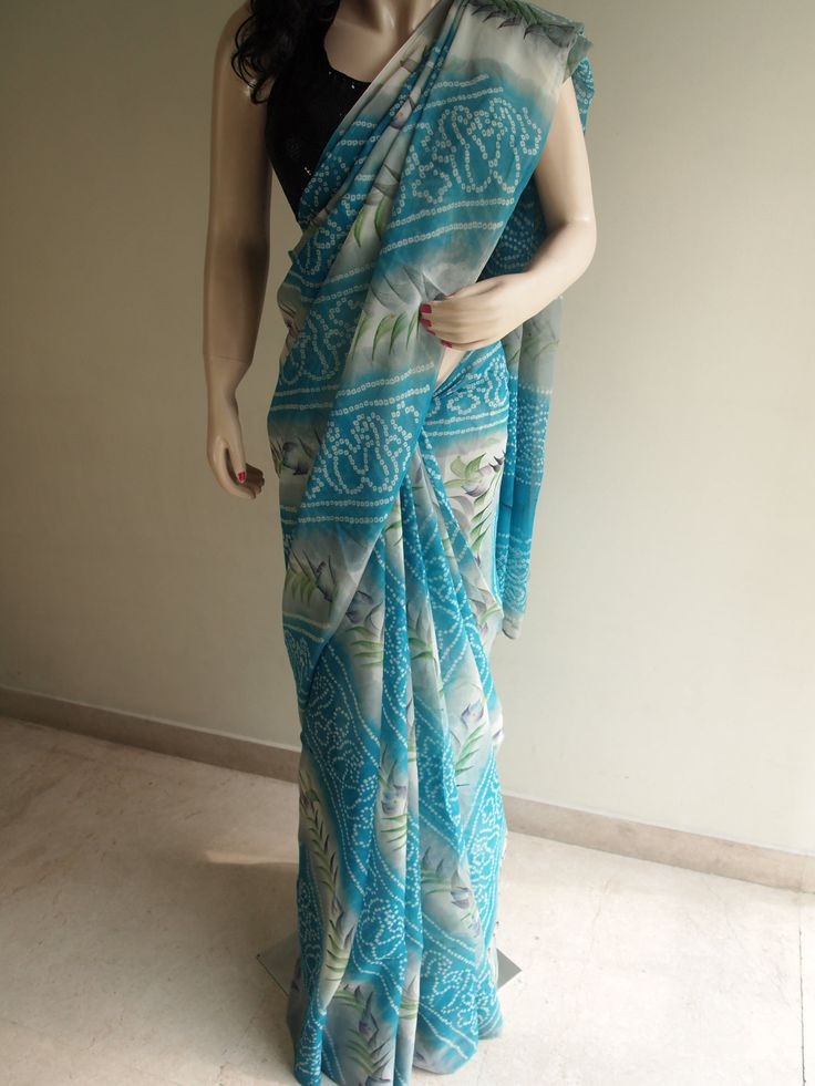 Turquoise & White Pure Georgette Bandhani Saree