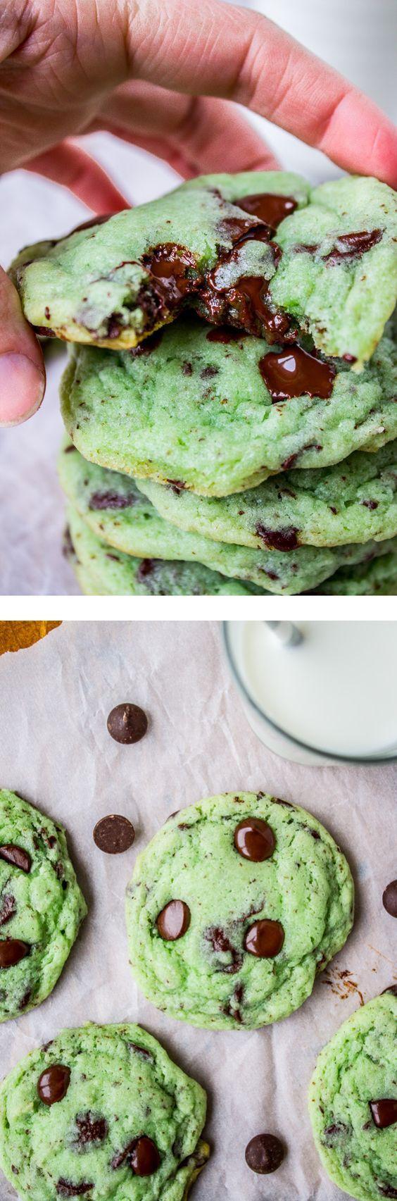 Mint Chocolate Chip Cookies // The Food Charlatan. Mint + dark chocolate…