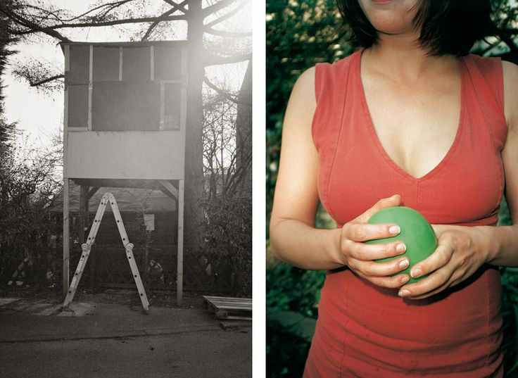"""""""Tree House & Woman in Red Skirt with Green Ballon"""""""