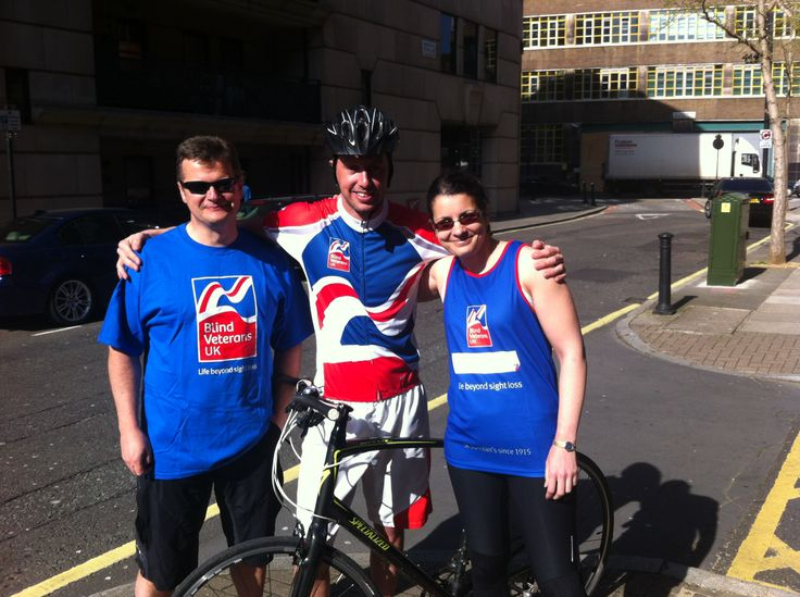 Mike, Paul and Niki wearing the Blind Veterans UK cycle clothes. If you would like to take part in a cycle challenge for Blind Veterans UK please visit: http://www.blindveterans.org.uk/how-you-can-help/fundraise/challengeevents/