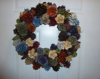 New Slim Reverse Pine Cone Wreath by LisasFloralCreations on Etsy