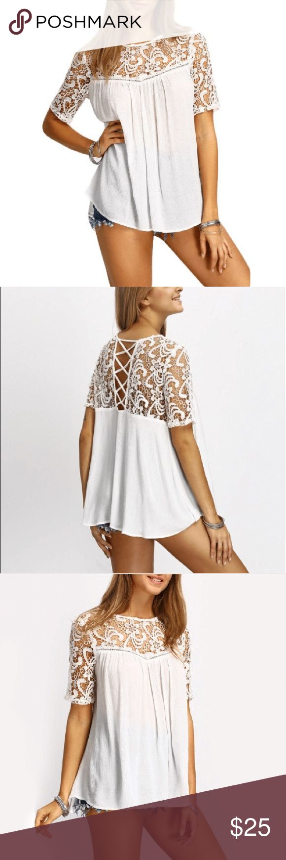 Crochet Short Sleeve Top Loose Fit This crochet short sleeve top offers chic style with a simple feminine flair. Pair it with your favorite jeans or a pair of shorts.                                Material: Cotton, Polyester                                       Add to Cart :) UshopTwo Tops Blouses