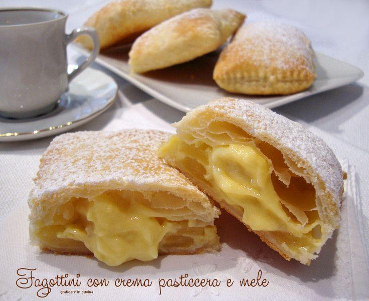 Fagottini con crema pasticcera e mele