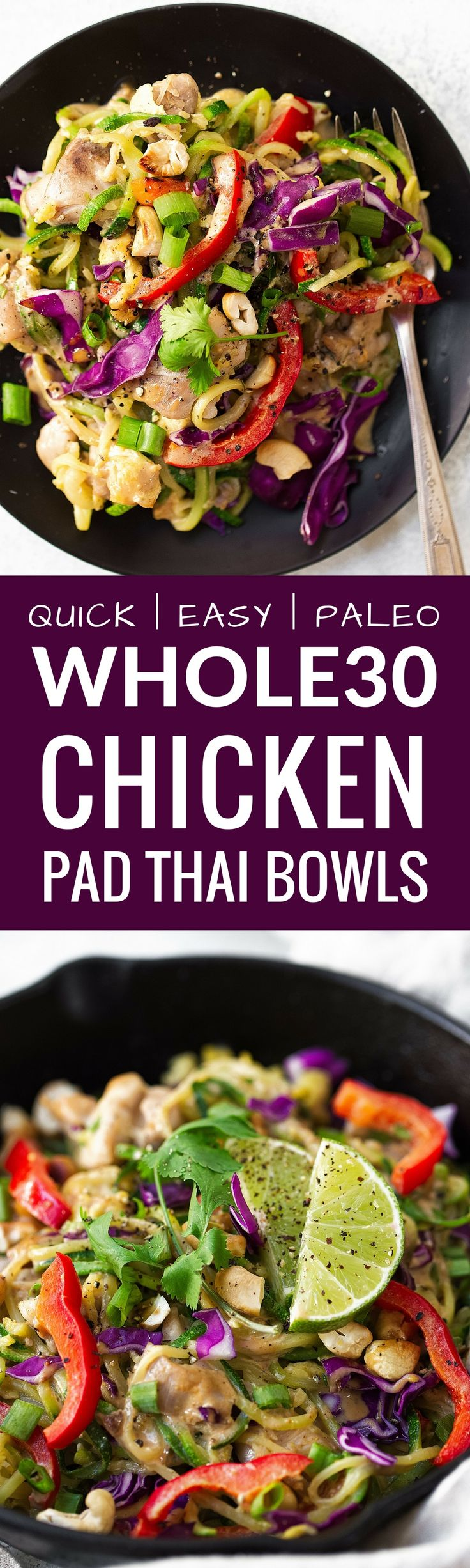 This recipe for Whole30 Chicken Pad Thai recipe is perfectly balanced with veggies, tender chicken thighs & a creamy Asian cashew sauce. Healthy whole30 chicken pad thai! Paleo chicken pad thai. Whole30 pad thai. Easy paleo dinner recipes. whole30 meal pl