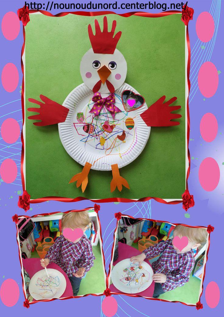 Charlie 16 mois commence à gribouiller et à savoir coller des gommettes, pour qu'elle fasse aussi une petite activité pour Pâques nounou la aider a réaliser cette jolie poulette,
