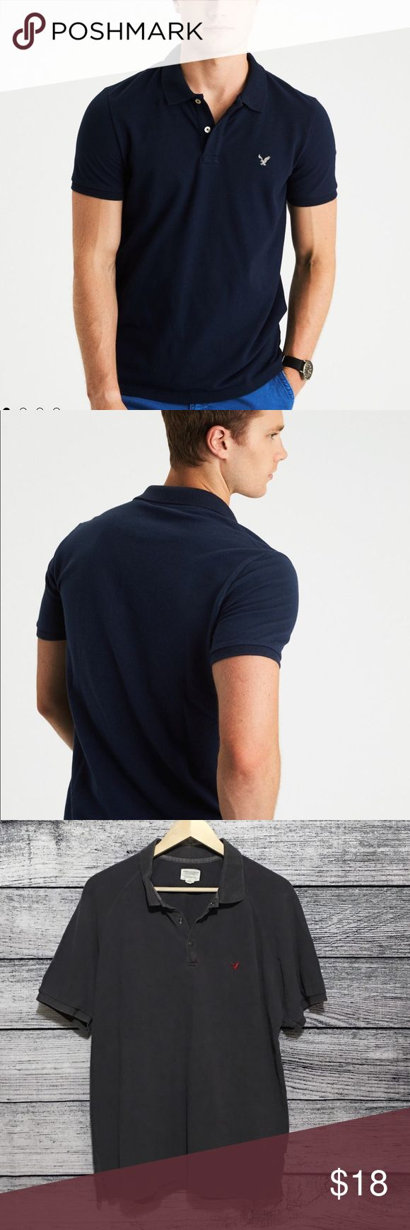 """American Eagle Outfitters Polo. Comfortable & ease of movement Three Snap closure. Rubbed collar & armbands. Vented hem. Embroidered icon on chest. Classic fit. 30"""" length. Chest 22.5 approximately. No trades, offers welcome.0919 American Eagle Outfitters Shirts Polos"""