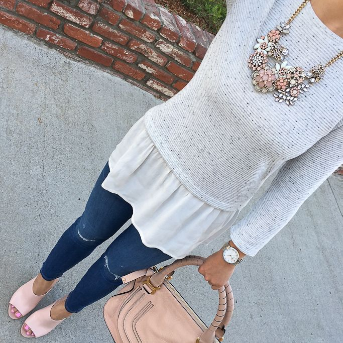 Chloe marcie small leather satchel, blush pink Open-Toe Leather Mules w/ Stacked Heel  J.Crew petite ankle jeans,  Petite Mixed Media Peplum Top, Glam on Rye Necklace - click the photo for outfit details!