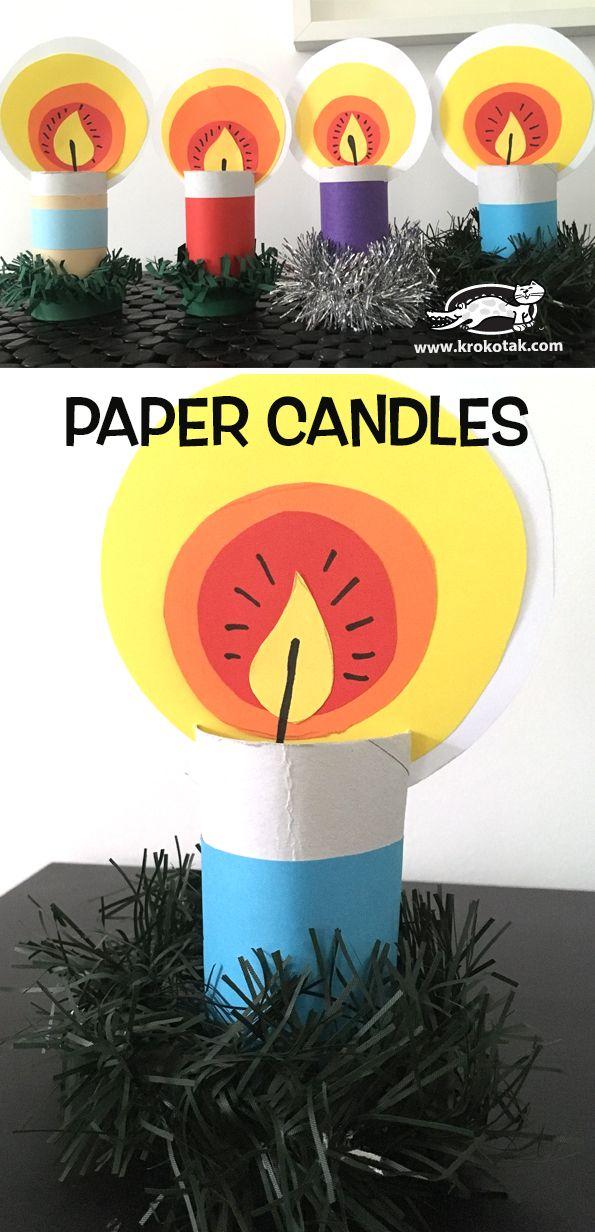 krokotak | Paper candles Christmas craft for kids