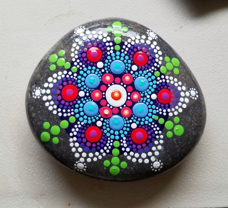 New Mandala Stone ~ Painted Rock ~ Colorful Dot Art Painting ~ Original Home Decor / Painted Stone / Turquoise Blue Green Yellow Pink by P4MirandaPitrone on Etsy