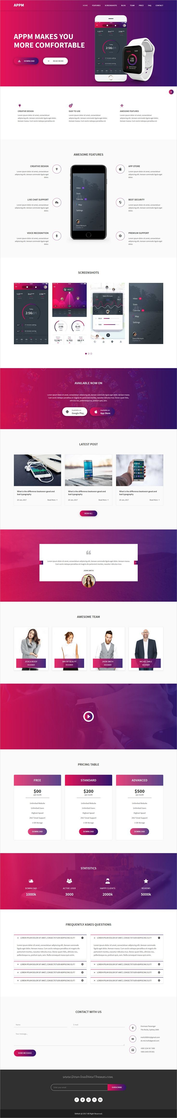 Appm is clean and modern design responsive #HTML template for creative app #landingpage website download now..