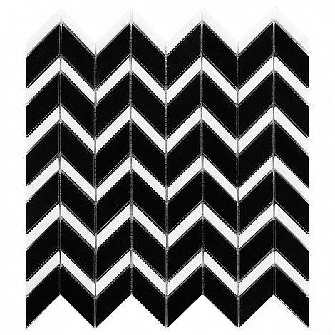 Pure Black CHEVRON mix - DUNIN. geometria, biało-czarne płytki, biało-czarna mozaika, jodełka, chevron, geometric