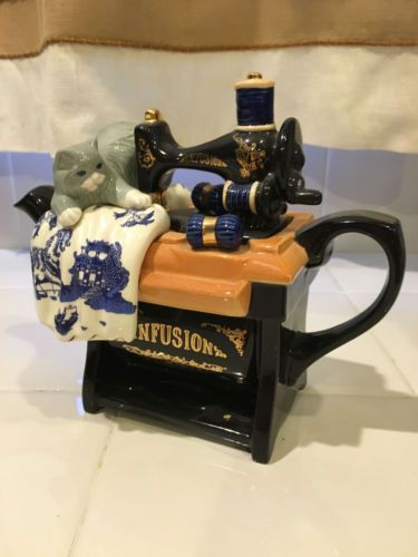 RARE-Paul-Cardew-Teapot-Infusion-Sewing-Machine-Cat-Asian-Textile-Blue