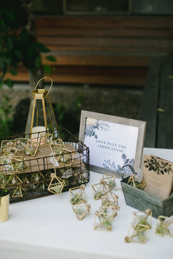 Geometric air plant favors: http://www.stylemepretty.com/california-weddings/san-francisco/2016/10/03/modern-san-fran-restaurant-wedding/ Photography: Onelove - http://www.onelove-photo.com/