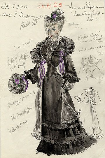 Costume design for Man and Superman, 1951 production at the New Theatre.  Kay Hammond as Ann Whitefield, costume designed by Elizabeth Haffenden.