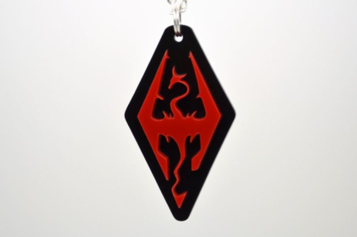 Skyrim Necklace - Laser Cut Acrylic Skyrim Dragon - Skyrim Logo