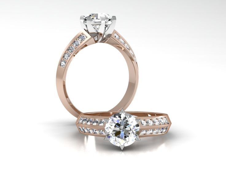 18ct White And Rose Gold 6 Claw Engagement Ring