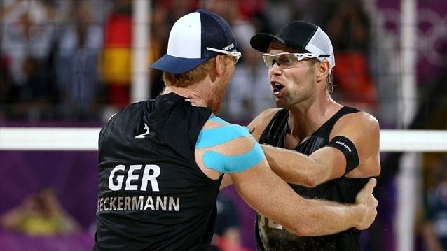 Gold medallists Jonas Reckermann and Julius Brink of Germany