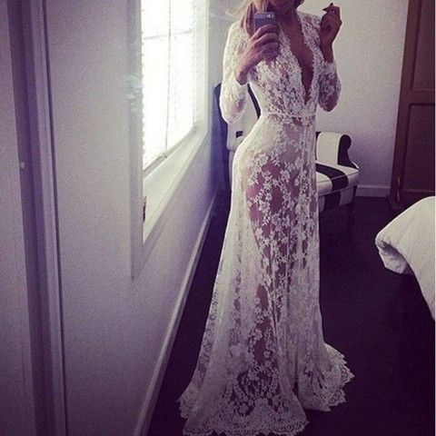 White Bohemian Floral Lace Women Maxi Dress | Daisy Dress for Less | Women's Dresses & Accessories
