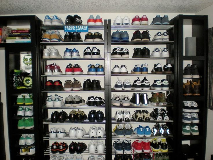 Ikea hackers lack wall of shoe shelves and storage for Sneaker wall display