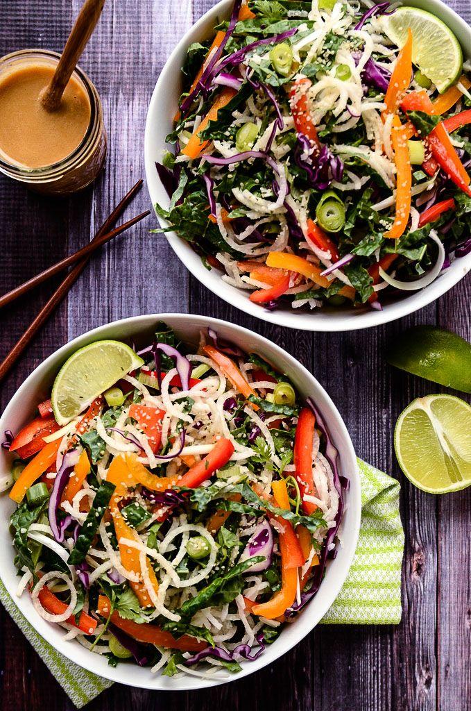Colorful Jicama Noodle Salad with Creamy Tahini-Ginger Dressing | Vegan + Gluten-Free