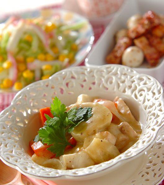 「里芋のコーンシチュー」の献立・レシピ - 【E・レシピ】料理のプロが作る簡単レシピ/2010.02.07公開の献立です。