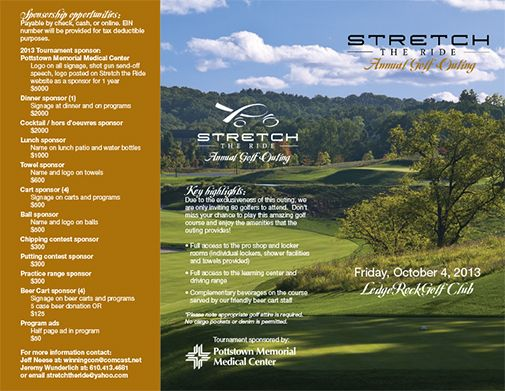 Brochure design for Stretch The Ride, Pottstown, PA, Charity Golf Outing