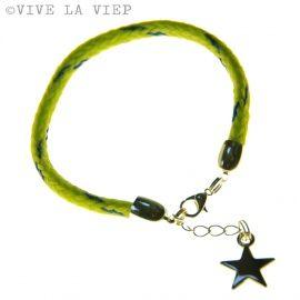 Beach Bracelet - Star - Neon geel / blauw  http://www.mijnwebwinkel.nl/winkel/vivelaviep/c-1936632/sieraden-vive-la-viep/