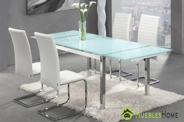 Mesa comedor Extensible para su Salón. Imagina por un momento este espectacular diseño en tu hogar... Sin duda Espectacular!!! Disponible en Blanca o Negra #mesas #comedor #mesaextensible