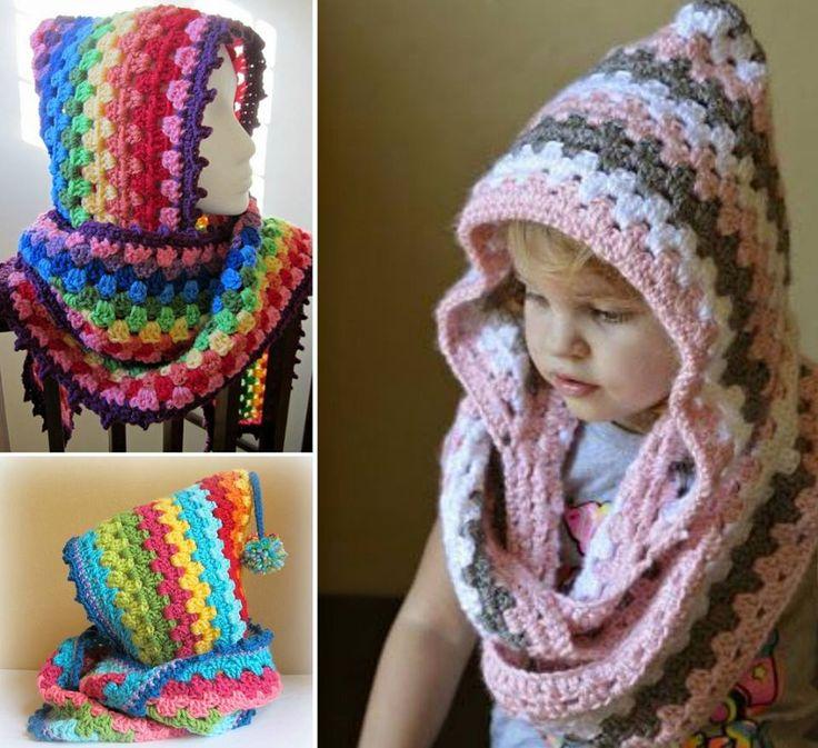 DIY Crochet Hooded Cowl Free Pattern #crafts, #crochet, #cowl