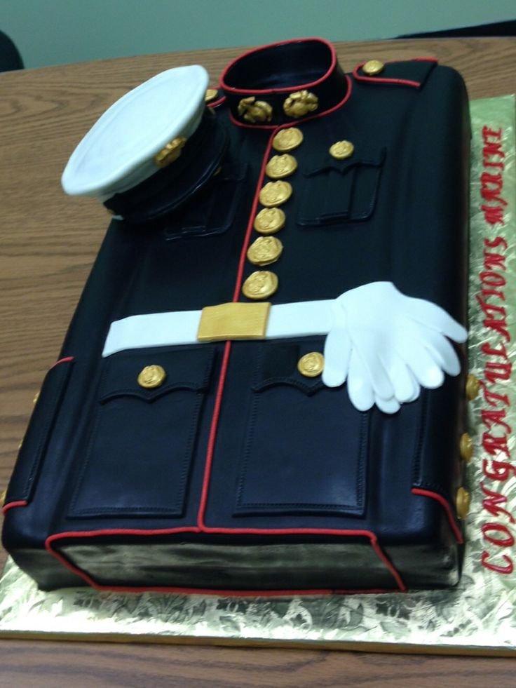 Marine Corps Dress Blues for my son's Welcome Home. Cake created by Linda Lee of Cakes So Simple.