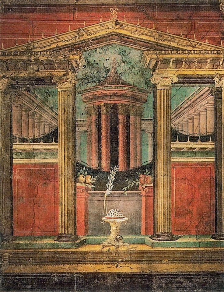 Wall painting from the Villa of P. Fannius Synistor at Boscoreale - Pompeii - Pompeii is the ruined ancient Roman city , which was engulfed by Mt. Vesuvius in AD 79.
