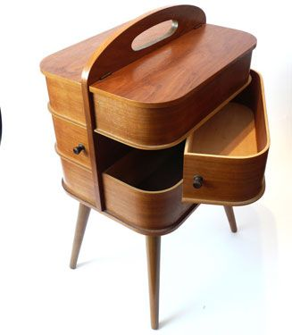 Mid-century sewing box - this would be fun for make up or jewellery too!