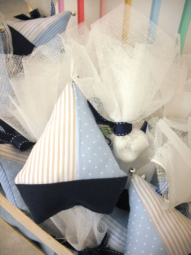 Fabric boat, gift from christening.