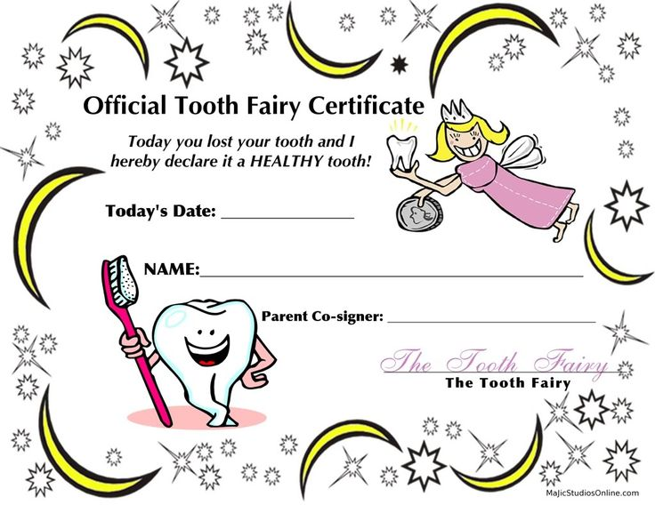 "teeth coloring pages | Official Tooth Fairy ""I Lost My Tooth Today"" Certificate"