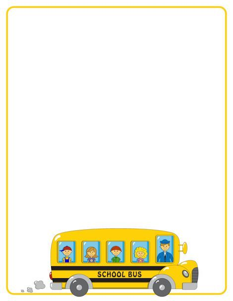 School bus page border. Free downloads at http://pageborders.org/download/school-bus-border/: