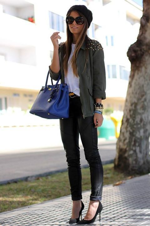 You can't go wrong with a cobalt blue handbag and a beanie.