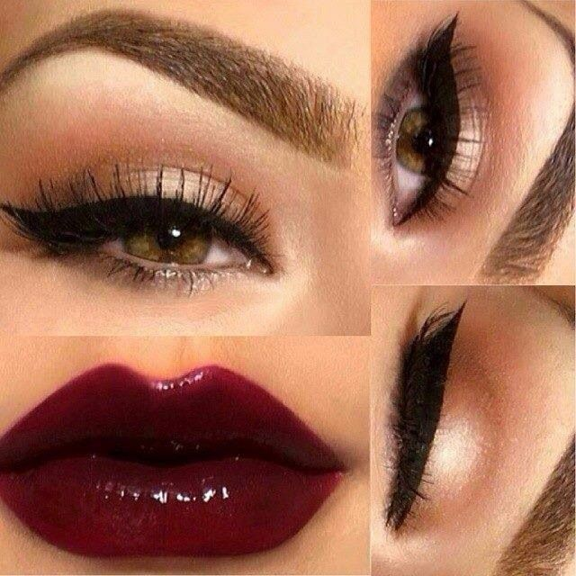 maybelline caviar couture, mac prince noir or sin lipstick, mac currant lip liner