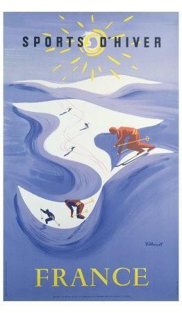 Idée pour Maman - Affiche & posters.com vous présente l'affiche  de Bernard VILLEMOT nommée Sports d'hiver en France