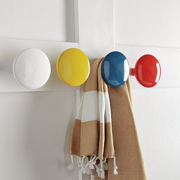 hooks: Modern Bathroom, Entryway Hooks, Primary Color, Lacquer Hooks, Photo Storage, Small Spaces Solutions, White Wall, West Elm, Wall Coats Hooks
