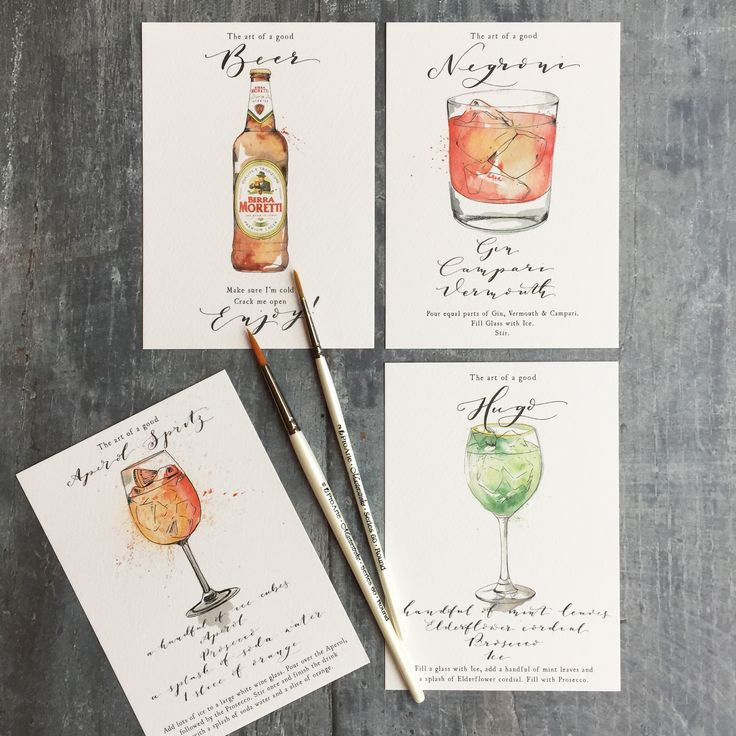 Cocktail Illustrations, perfect for your Wedding reception, Theme your cocktails for his and her or give your guests ingredients to make their own with our hand painted recipe cards. Contact us for your bespoke commission.