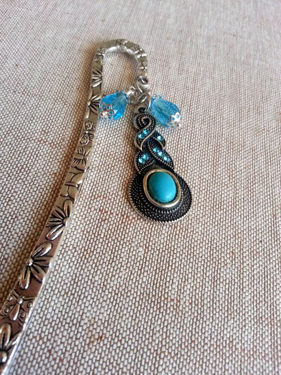 Blue Bookmark Turquoise bookmarkSilver by Blackpassion on Etsy